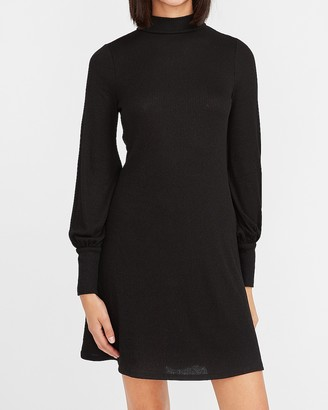 Express Cozy Ribbed Mock Neck Trapeze Dress
