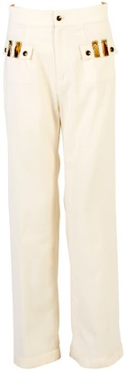 Relax Baby Be Cool Straight Cut Loose Wool Trousers With Front Pockets White