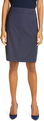 HUGO BOSS Vasteria Microcheck Wool Blend Skirt