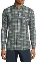 Billy Reid Walland Plaid Sport Shirt, Navy