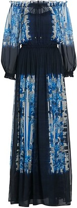 Alberta Ferretti Ombre Floral-Print Off-The-Shoulder Long-Sleeve Silk Dress