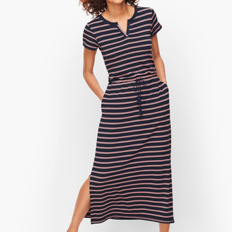 Talbots Stripe Split Neck Maxi Dress