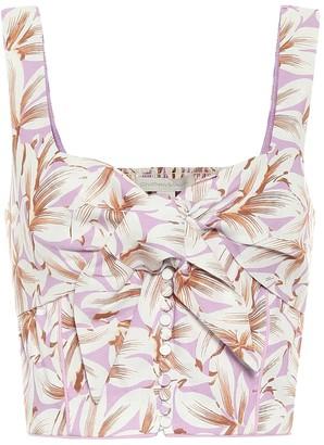 Jonathan Simkhai Layla floral linen-blend crop top