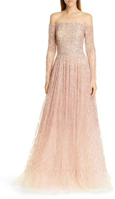 Pamella Roland Sequin & Crystal Ombre Off the Shoulder Gown