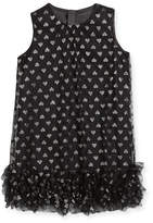 Milly Minis Tessa Embroidered Hearts Tulle Ruffle Trapeze Dress, Size 8-16