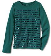 Classic Little Girls Sequin Knit Tee-Blue Tweed