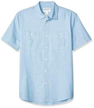 Amazon Essentials Men's Standard Slim-Fit Short-Sleeve Chambray Shirt