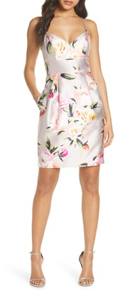 Eliza J Floral Print Mikado Cocktail Dress