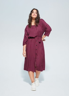 MANGO Violeta BY Buttoned polka-dot dress maroon - 14 - Plus sizes
