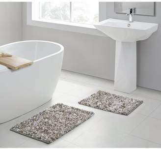 Vcny Home VCNY Home Recycled Paper Shag Bath Rug Set, Grey