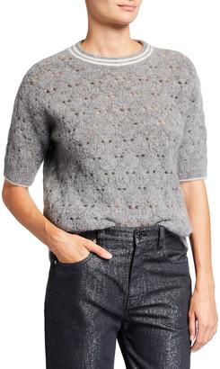Brunello Cucinelli Crewneck Elbow-Sleeve Open Weave Sweater