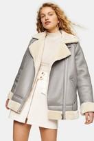 Topshop Womens Grey Faux Shearling Biker Jacket - Grey