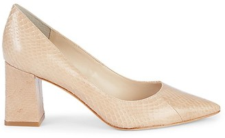 Marc Fisher Embossed Point-Toe Leather Pumps