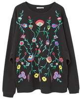 Mango Outlet Floral embroidered sweatshirt