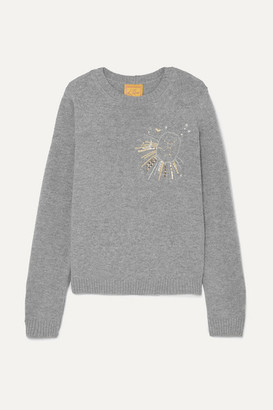 LE LION Virgo Embellished Embroidered Wool Sweater - Gray