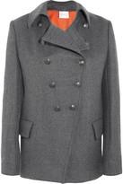 Pierre Balmain Double-breasted Twill Coat - Gray