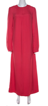 Marni Hot Pink Paneled Button Detail Long Sleeve Maxi Dress S
