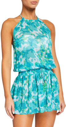 Ramy Brook Damara Floral Print Chiffon Halter Dress