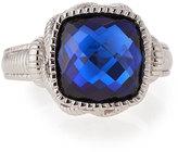 Judith Ripka Blue Corundum Cushion Ring
