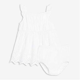 Joe Fresh Baby Girls' Eyelet Dress Set, White (Size 6-12)