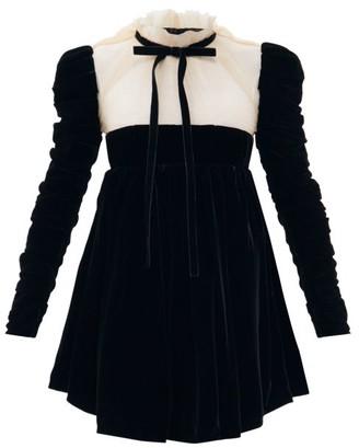 KHAITE Ann Velvet And Tulle Mini Dress - Black