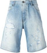 Armani Jeans distressed long denim shorts