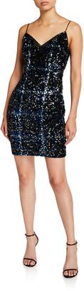 Aidan Mattox Plaid Sequin V-Neck Sleeveless Sheath Dress