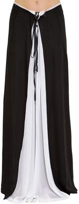 Ann Demeulemeester Layered Two Tone Crepe Skirt