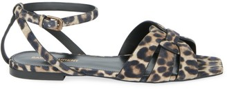 Saint Laurent Tribute Flat Leopard-Print Leather Sandals