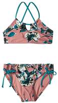 Splendid Littles Watercolor Floral High Neck Bra Tunnel Side Pants Girl's Swimwear Sets