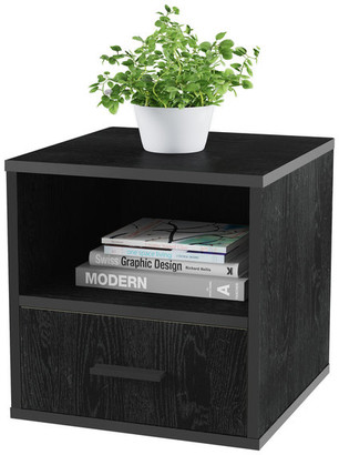 Lavish Home Stacking Modular Cube Endtable With Drawer, Black