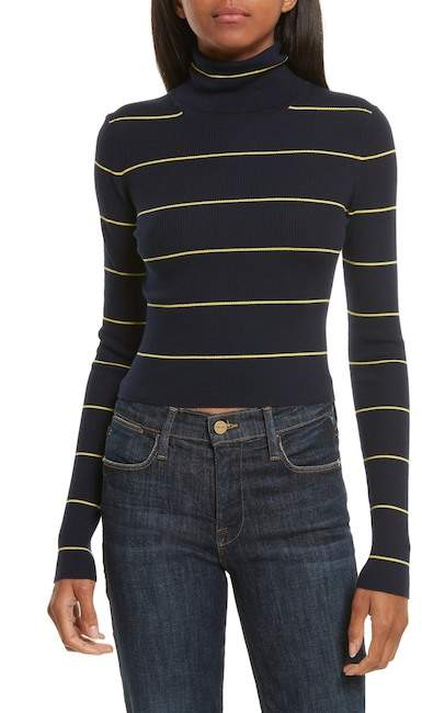 Theory Stripe Crop Turtleneck