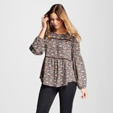 Knox Rose Women's Floral Printed Blouse with Tassel Tie Back