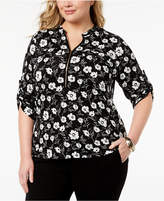 Calvin Klein Plus Size Zip-Front Shirt
