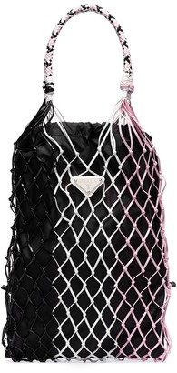 Prada Tri-Tone Woven Tote Bag