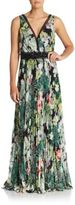 Teri Jon Beaded Floral Print Empire Gown