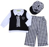 YOUJIA Baby Boy 4pcs Gentleman Outfit Set Vest Shirt Checked Pants & Hat (, 100)