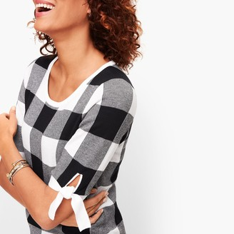Talbots Tie Sleeve Gingham Sweater