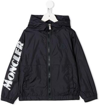 Moncler Enfant Logo Print Patch Detail Rain Jacket