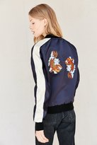 Urban Renewal Recycled Embroidered Satin Bomber Jacket