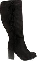 Yours Clothing Black Knee High Suedette Heeled Tassel Boot EEE Fit
