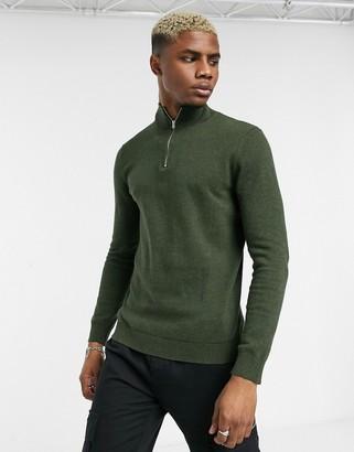 Topman turtle neck half zip jumper in khaki