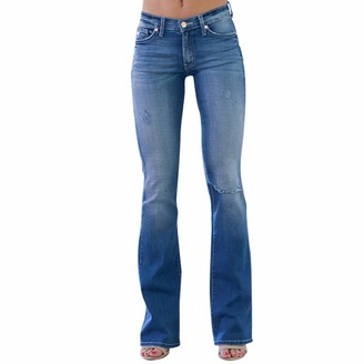 jerferr Women Hight Waisted Skinny Hole Denim Jeans Stretch Slim Pants Bell-Bottoms Jean