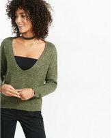 Express double slash back v-neck sweater