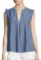 Joie Blaine Chambray Ruffle Tank Top