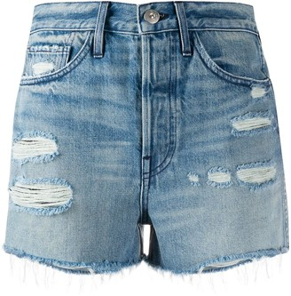 3x1 Ripped Detail Frayed Edge Shorts