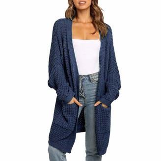 Manooby Women's Long Sleeve Cardigans Knitwear Open Front Top Blouse with 2 Pockets Loose Oversized Sweater Navy