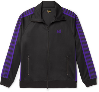 Needles Logo-Embroidered Webbing-Trimmed Tech-Jersey Track Jacket
