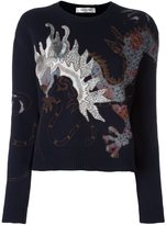 Valentino 'Dragon' embroidered jumper - women - Cotton/Polyester/Cashmere/Metallic Fibre - M