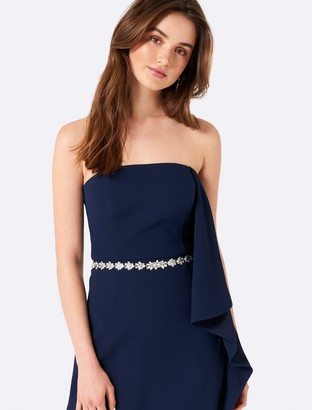 Forever New Carrie Waterfall strapless maxi - Navy - 12